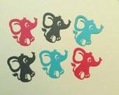 "Handmade, 6 Cute Elephants, Pink, Blue, Gray, 2 1/4"" tall, 2 1/4"" wide, Cards, Scrapbooking, Confetti"