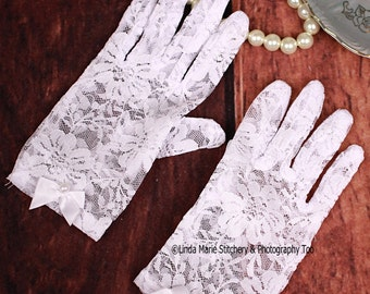 Girls Tea Time White Lace Gloves