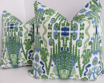 Ikat Green Blue White Decorative Pillow Cover, White Blue Pillow Cover, Pillow Cover, Home Decoration, Sofa Pillow Cover, Bed Pillow Cover