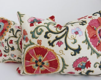 2 Pillow Covers 12x16 - Pink Pillow cover- Red Pillow Covers- Cream Pillow Covers- Suzani Pillows -Suzani Pink Pillows -Pillow - Set Pillows