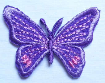 Iron On Patch Applique - Butterfly Purple.