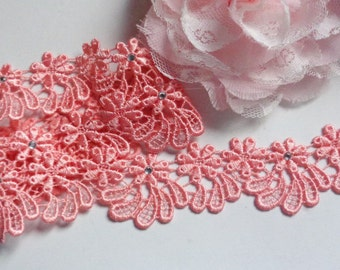 1 1/8 inch wide purple or pink embroidered lace selling by the yard/select color