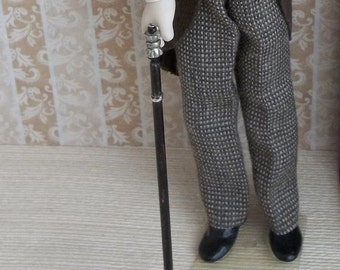 Dagger Cane Gentleman's Walking Stick in Ebony and Silver finish in 1:12 Scale for Dollhouse