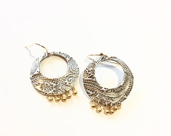 fine silver PMC paisley patterned hoops huge with tiny vermeil beads, bohemian chic