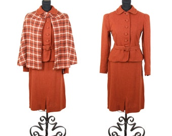 1930s Suit // Plaid Cape Rust Wool Puff Sleeve Suit