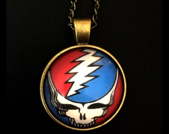 Grateful Dead SYF Glass Photo Cabochon Necklace