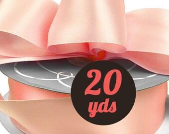 """Satin Blush Pink Ribbon - 7/8"""" wide at 20 yards"""