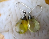 Pineapple quartz briolette dangle earrings wire wrapped earrings
