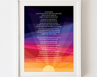 Printable DIY 18 x 24 poster art sign - Sunset - Wedding Reading Poem - Love - black blue purple red yellow - vertical - Sunrise Geometric