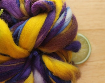 Iris - Handspun Wool Yarn Yellow Purple Blue Thick and Thin Skein