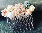 Wedding Hair Comb Bridal Hair Comb Blush Pink Hair Comb Romantic Headpiece Silver Hair Slide Rustic Floral Collage Hair Pin