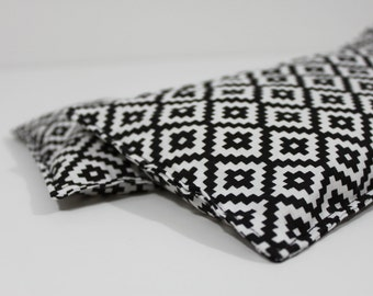Neck & Shoulder Rice Bag - 4.5 x 21.5 inches, hot or cold therapy pack, black and white geometric pattern, rice heating pad