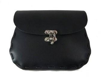 Black Leather Belt Pouch, Medieval Belt Bag, Renaissance Faire Garb Accessory, Viking LARP Fantasy Costume Accessory, Gothic Hip Purse