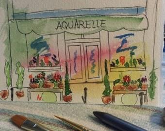 Watercolor, Paris, Aquarelle, Original, Painting, 4x5 inch, Flower Shop, Plants, Rue, France, Europe, Strolling, City of Lights