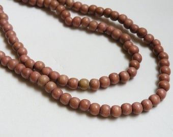 Terracotta wood beads earth tones light reddish brown round 6mm full strand eco-friendly Cheesewood 9427NB