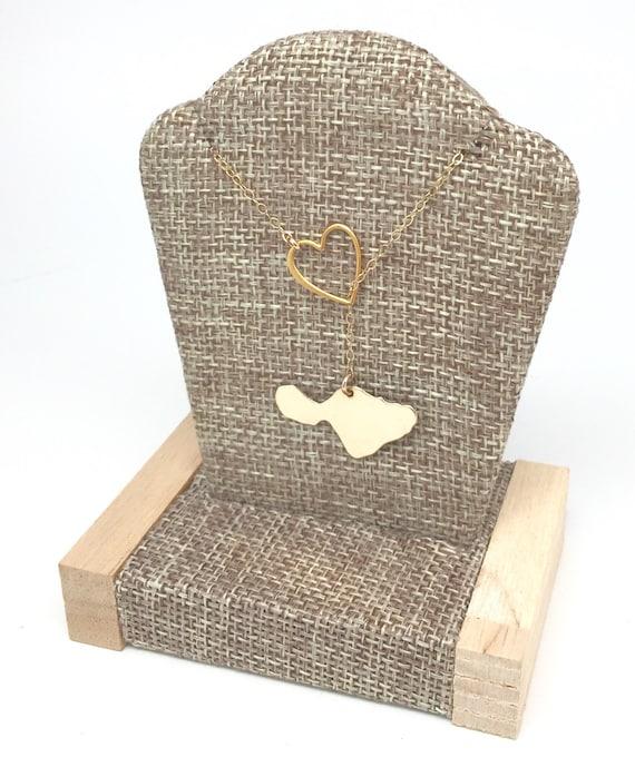Maui Jewelry, Maui, Through My Heart 14K gf Island Necklace, lariat handmade by Sparrow Seas