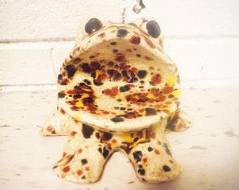 Vintage sink caddy sponge frog drip pottery orange yellow black mod ring holder