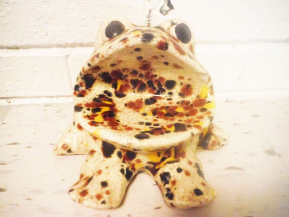 Vintage sink caddy sponge frog drip pottery orange yellow - Frog sponge holder kitchen sink ...