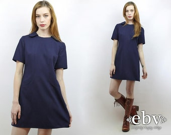 Vintage 60s Navy Dolly Dress M Navy Dress 60s Dress 60s Mini Dress 1960s Dress