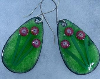 Flower Power Enamel Earrings, Pink and Green Earrings, Enameled Earrings