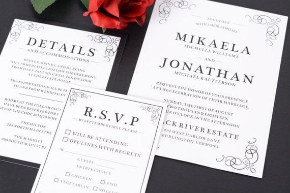 sample formal wedding invitation suite stylish simplicity wedding