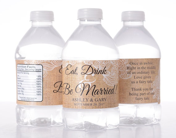 Burlap Wedding Decor - 150 Wedding Water Bottle Labels - Vintage ...
