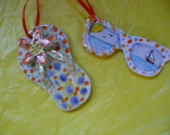 Flip Flop Sunglasses Ornaments - summer vacation beach -  handmade ceramic