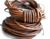 2mm Round Leather cord - Dark Tan Brown, Vintage - 10 feet, LC081
