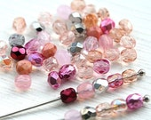 4mm Pink beads mix, czech glass beads, fire polished spacers, round beads - 50Pc - 1817