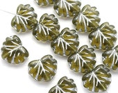 10pc Olive green leaf beads, Maple glass leaves, Olivine czech beads, Silver inlays - 11x13mm - 1150