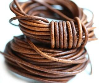 2mm Round Leather cord - Dark Tan Brown, Vintage - 10 feet, LC081