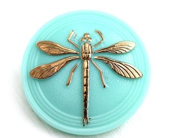 31mm Golden Dragonfly Czech Glass Mint Button, Light Turquoise, Handmade Button bead, size 14, 1pc - 2531