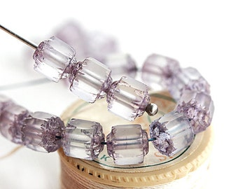 6mm Cathedral beads, Pale lilac, matte finish, czech glass fire polished round  beads - 20Pc - 2015