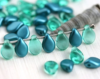Teal beads mix, PiP beads, czech glass flat drops, top drilled, Preciosa, teardrops,  5x7mm - 40Pc - 0079