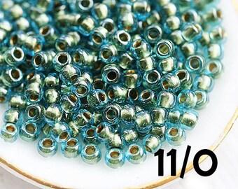 Seed beads, Toho, size 11/0, Inside color Aqua - Gold Lined, N 284, blue glass beads - 10g - S165