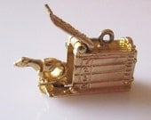 9ct Gold Racing Greyhound in a Trap Articulated Charm