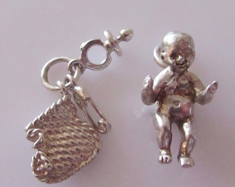 Vintage Solid silver Baby Doll and Bootees Charm