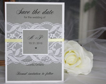 Grey & Yellow Lace Save the Dates, Grey Yellow Wedding, Save the Dates, Grey Yellow Save the Dates, Grey Save the Dates, Lace Save the Dates