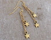 Star Earrings .. gold star earrings, celestial earrings, chain earrings, star drop earrings, gold earrings
