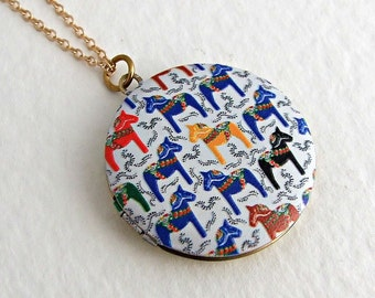 Dala Horse Locket .. Swedish horse, horse necklace, brass locket, colourful jewellery