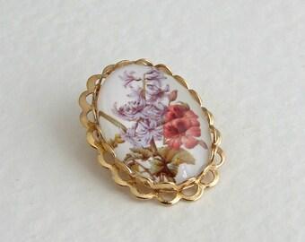 Flower Brooch .. small brooch, botanical brooch, Victorian flowers, red flower, purple flower
