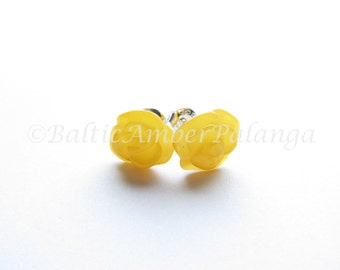 Baltic Amber Rose Stud Earrings