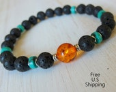 Grounding Men's Genuine Turquoise Lava beads with Amber Guru bead, Meditation bracelet mala, Healing bracelet, wrist mala-turquoise bracelet