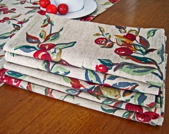 5 Vintage Napkins, Red Berries, Metallic Gold, Green Leaves, Linen Blend, 1960's New Old Stock MINT