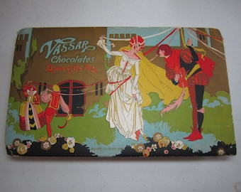 Vintage 1920's-30's embossed gold gilded art deco Vassar Chocolates Queen of the May box medieval royalty celebrate may day at castle