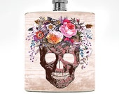 Womens Flask Flower Skull Flask Drinking Gifts Liquor Ladies Gift Floral college girl Hip Flask Girlfriend Birthday Affordable Wedding Ideas
