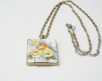 Vintage 1950's Cottage Chic Guilloche Yellow Rose Double Locket Pendant Mid Century Costume Jewelry Necklace Gift For Her on Etsy