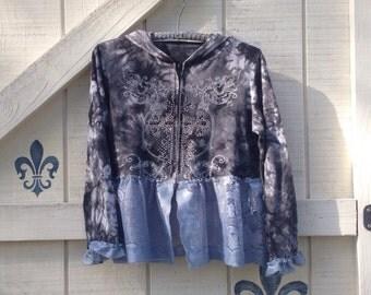 Upcycled hoodie, artsy cropped hoodie, black knit hoodie, blue lace cropped top S-M