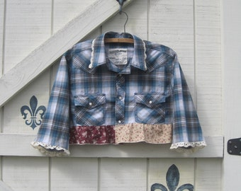 Cropped top, XL plaid western top, Cowgirl top, Blue plaid top, plaid top, plaid top