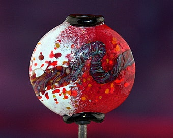 Abstract In Red and White Handmade Lampworked Glass Bead OOAK Lentil Focal Red White Blue Amber Black Lampwork
